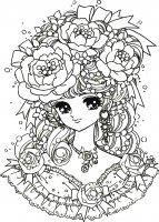 Coloriage adulte retour enfance fille manga fleurs