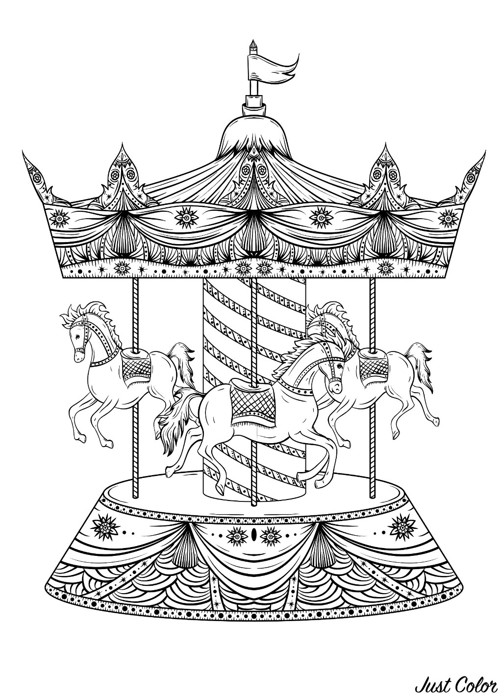 Coloriage original avec un joli caroussel et trois magnifiques chevaux de bois