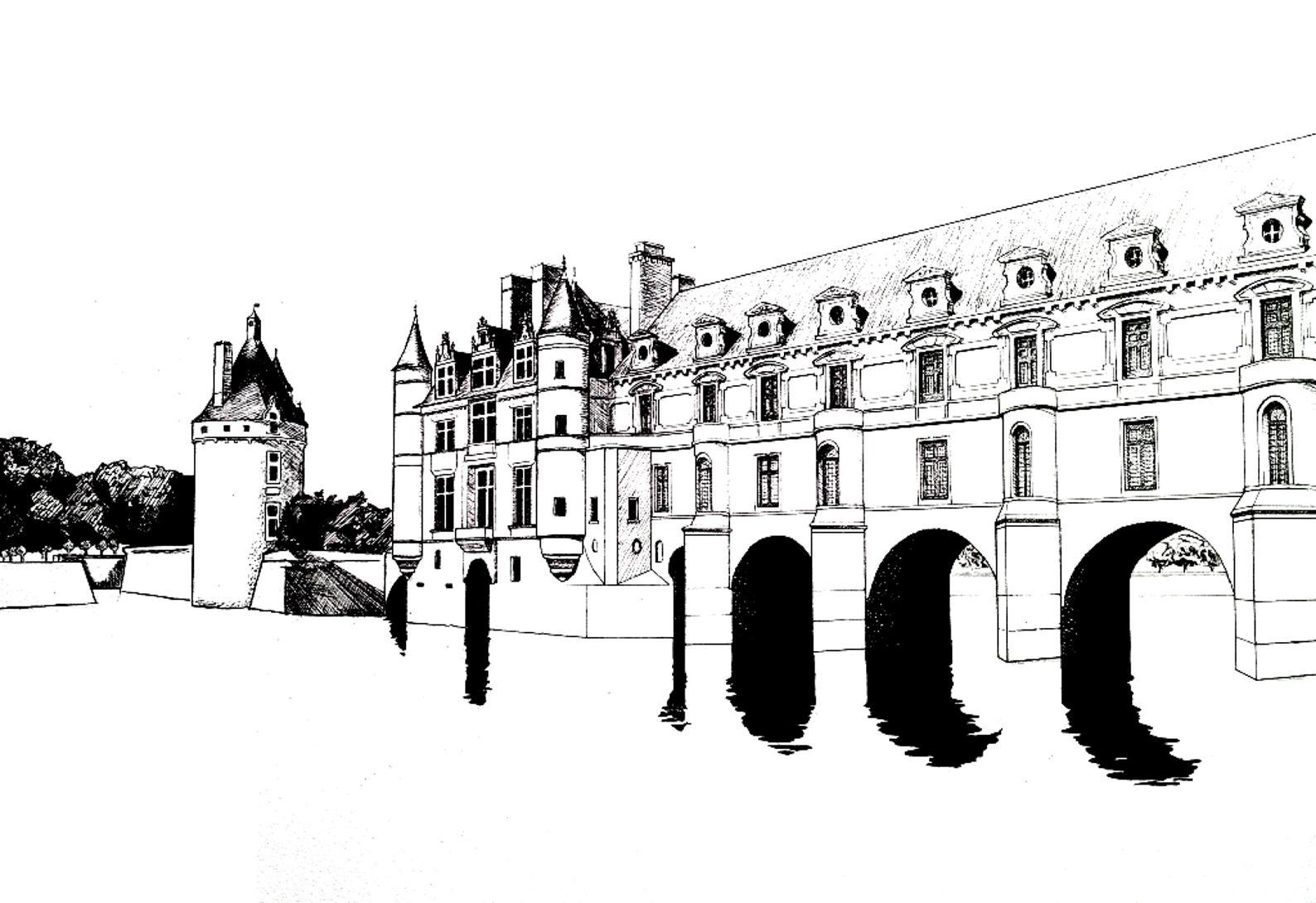 Chateau chenonceau rois et reines coloriages - Coloriage de chateau ...