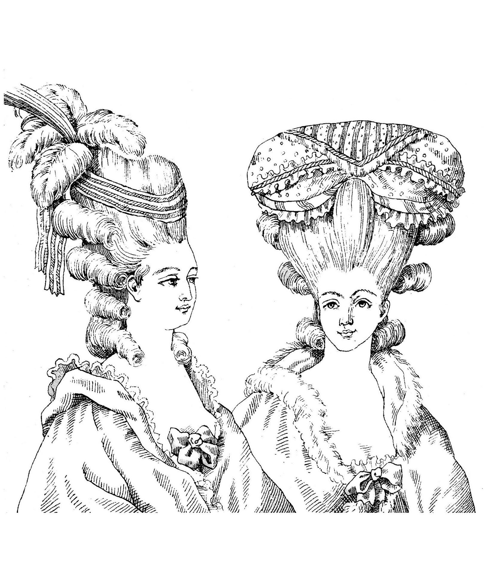 Coiffure style Marie-Antoinette (gravue d'un livre de 1880)