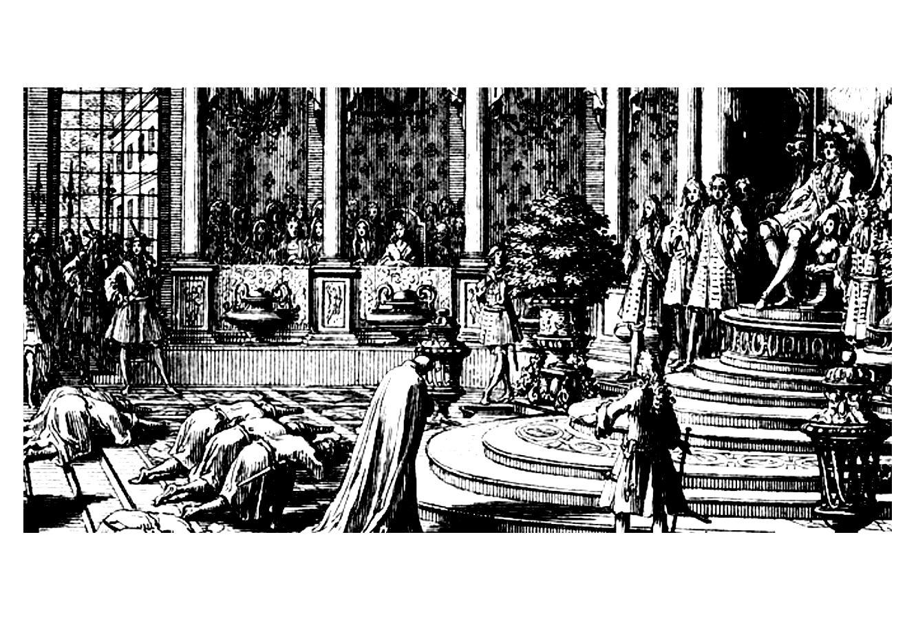 Gravure d'époque à colorier : Les Ambassadeurs du Siam reçus par Louis XIV en 1684