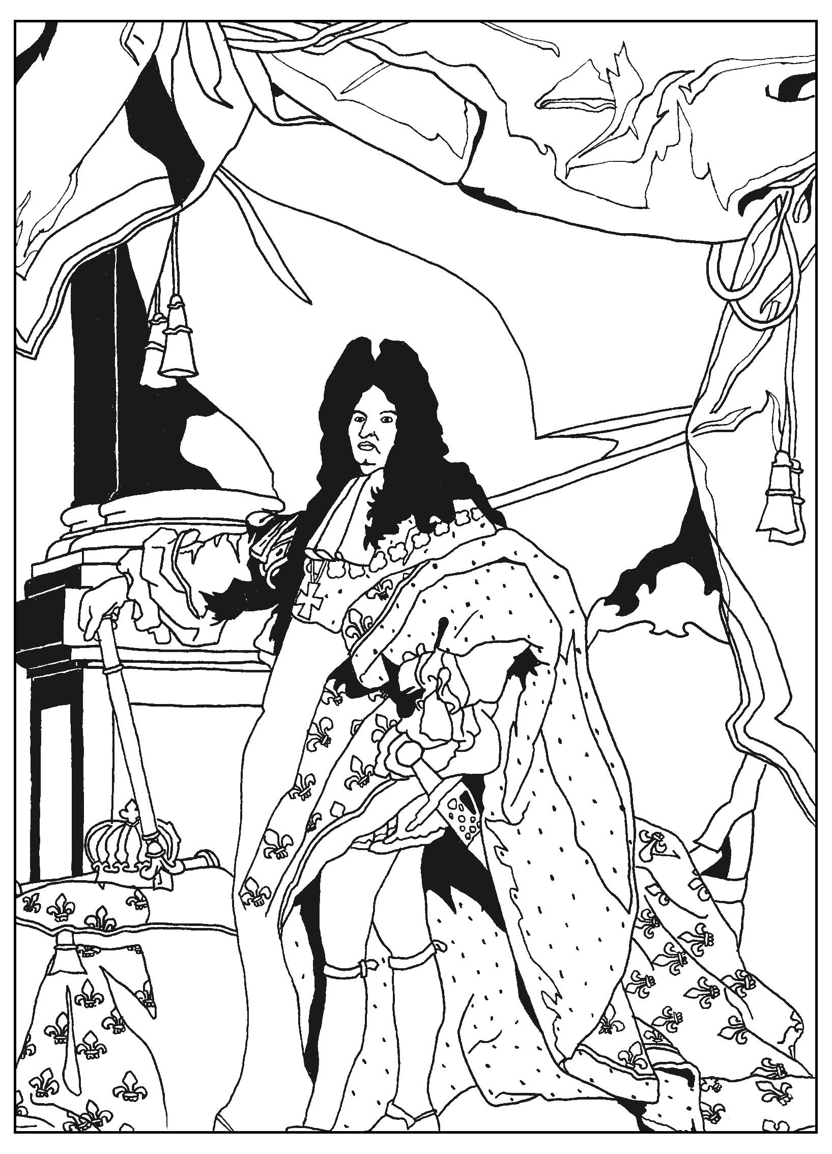 Un coloriage complexe plein de détails représentant le Roi Soleil Louis XIV, tel que peint par Hyacinthe Rigaud en 1701.
