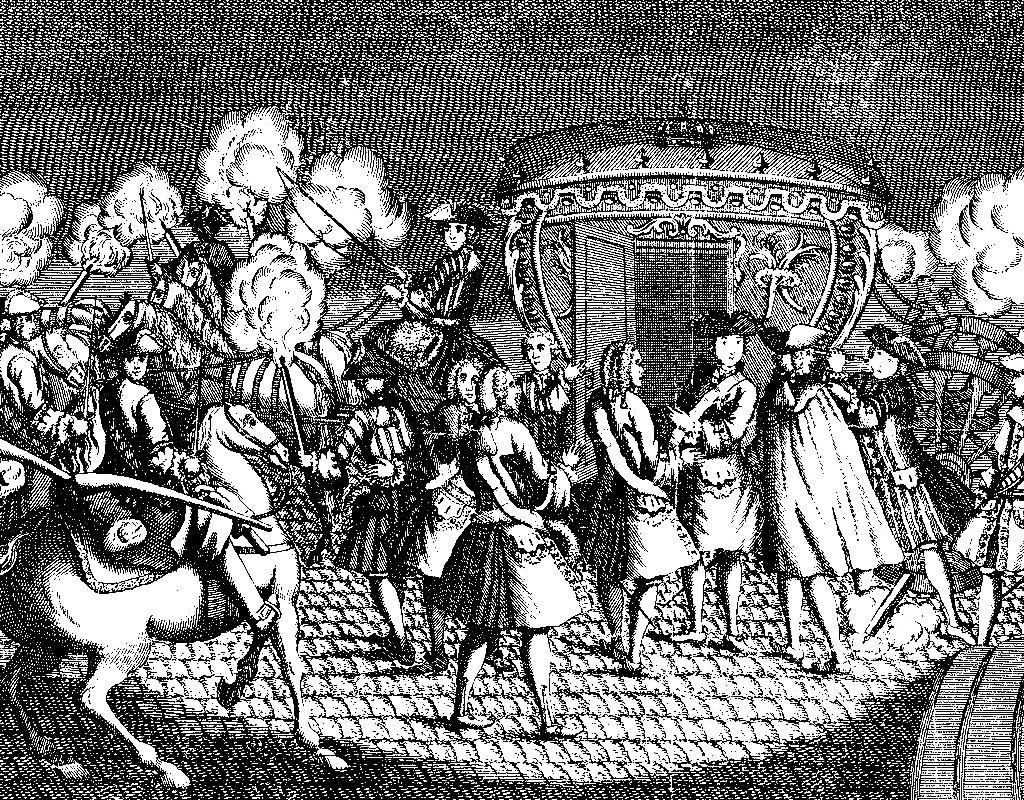 Gravure noir & blanc de l'attentat contre Louis XY en 1757, à Versailles