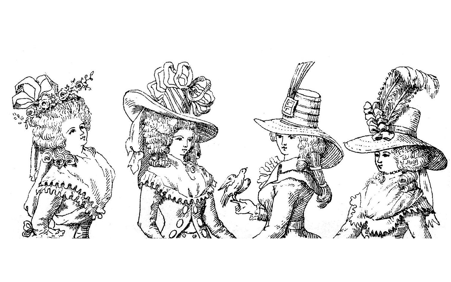 Illustration du 19e siècle représentant des costumes de la Cour du Roi