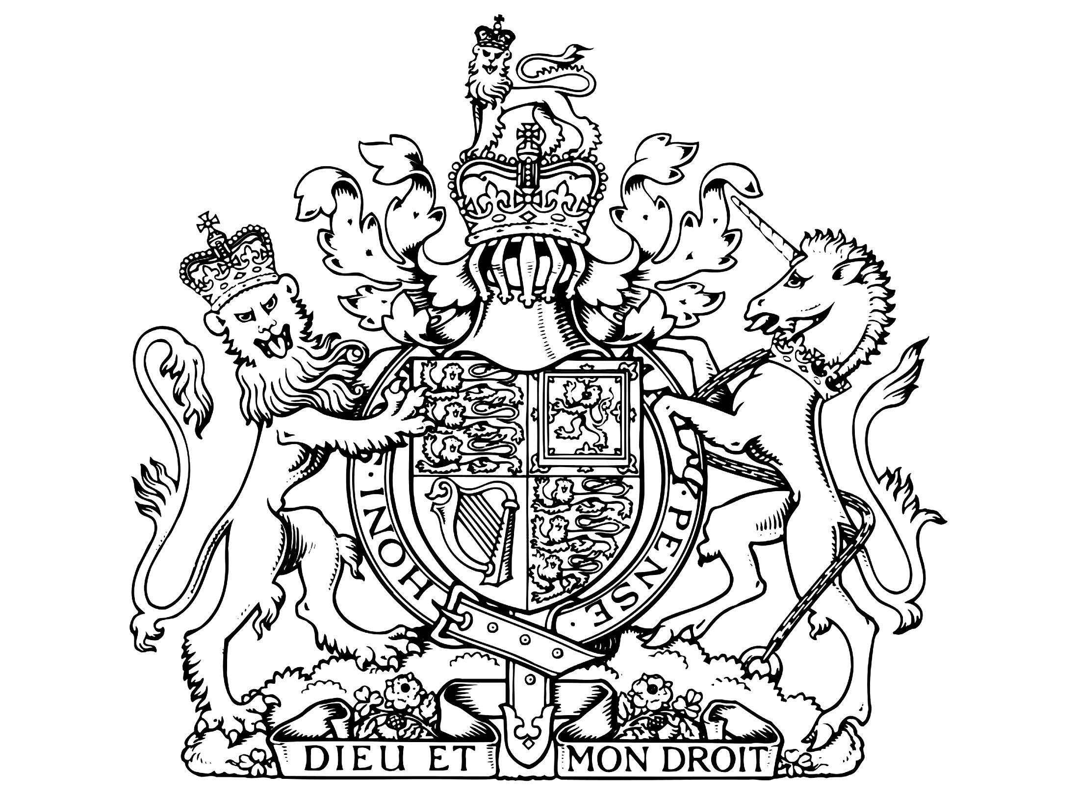 Les Armoiries royales du Royaume uni, avec la devise 'Dieu et mon droit'