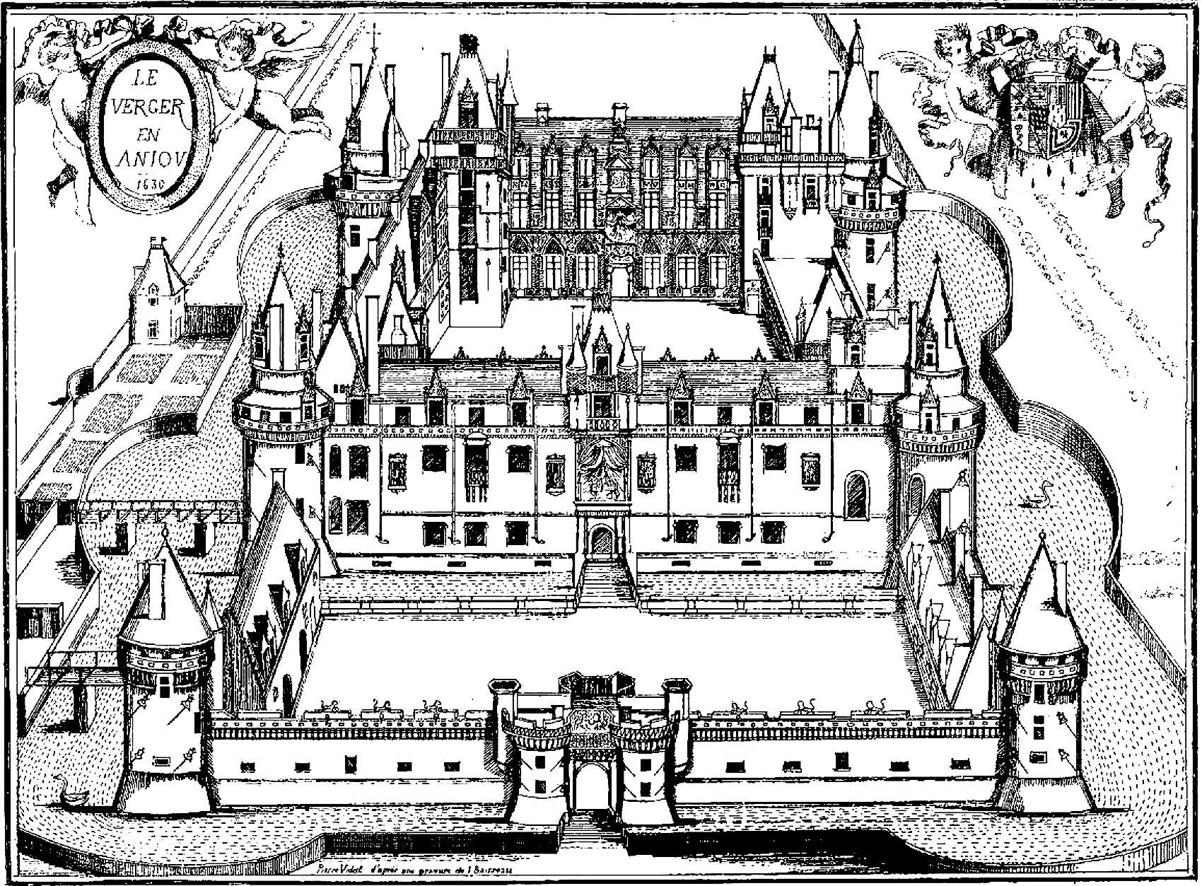 Chateau du verger gravure rois et reines coloriages - Coloriage de chateau ...