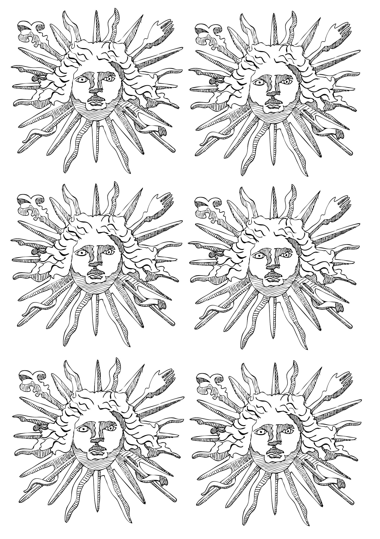 L'emblème de Louis XIV, le Roi Soleil (6 motifs répétés)