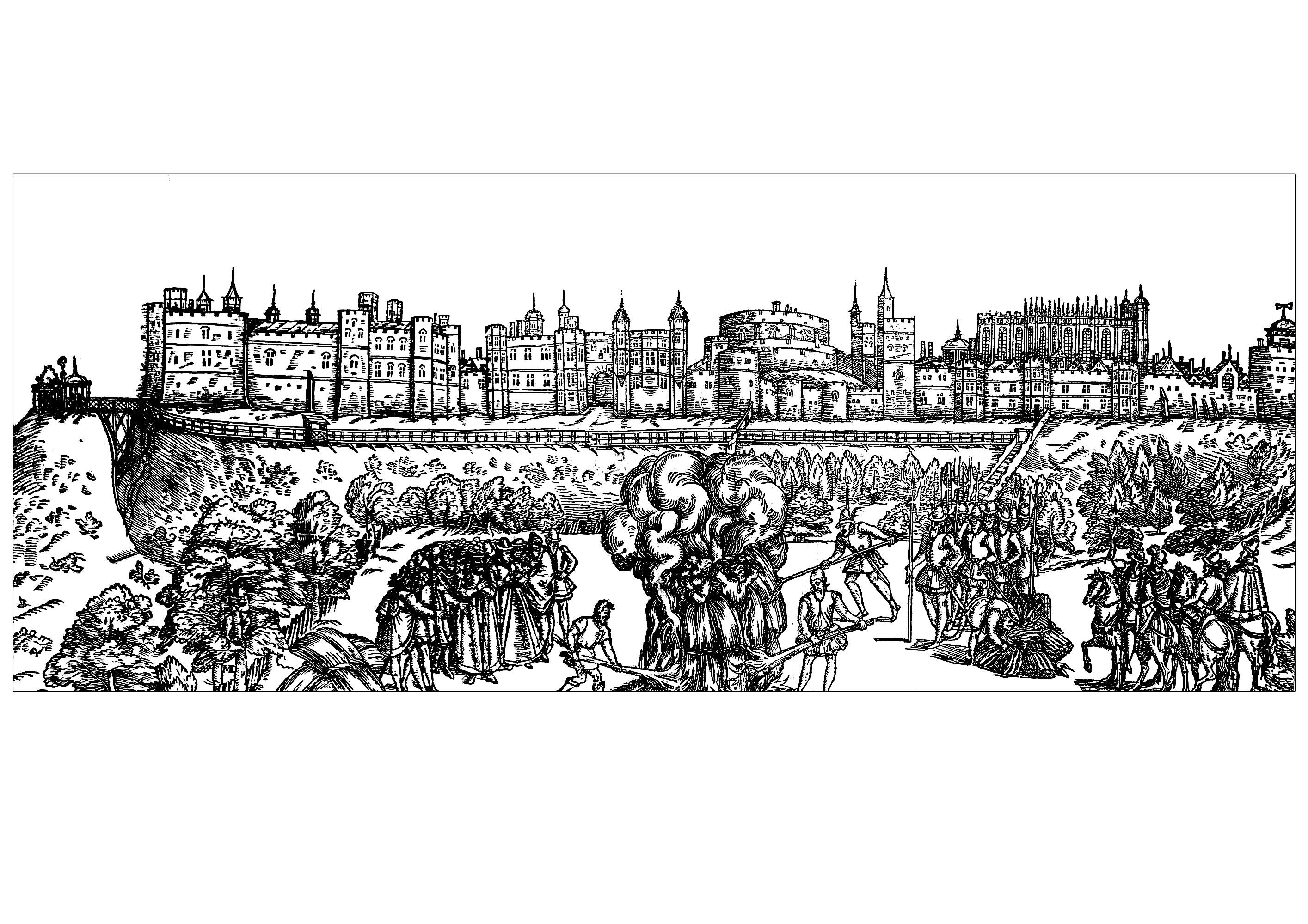 Dessin de 1570 représentant le Château de Windsor en Grande Bretagne, le plus grand château occupé du monde (par la reine Elisabeth II)