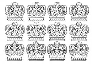 Coloriage 12 couronnes royales