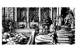 coloriage-adulte-gravure-les-ambassadeurs-siam-recieved-by-louis-xiv-1684-sebastien-le-clerc free to print
