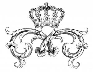 coloriage adulte symbole royal courone par dl1on
