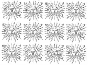 Coloriage embleme lous 14 roi soleil 2
