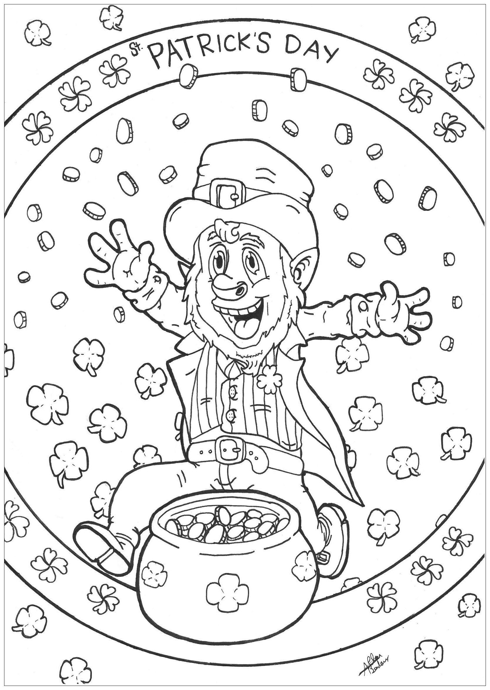Coloriage d'un Leprechaun célébrant la Saint Patrick avec son chaudron rempli de pièces d'or
