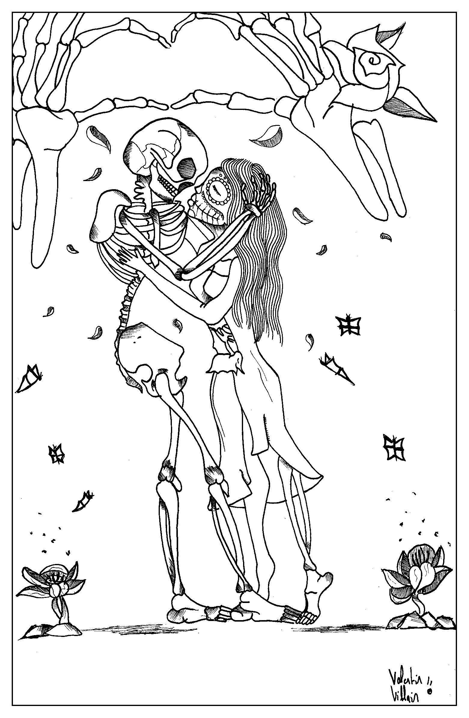 Un coloriage pour la Saint-Valentin au style bien particulier