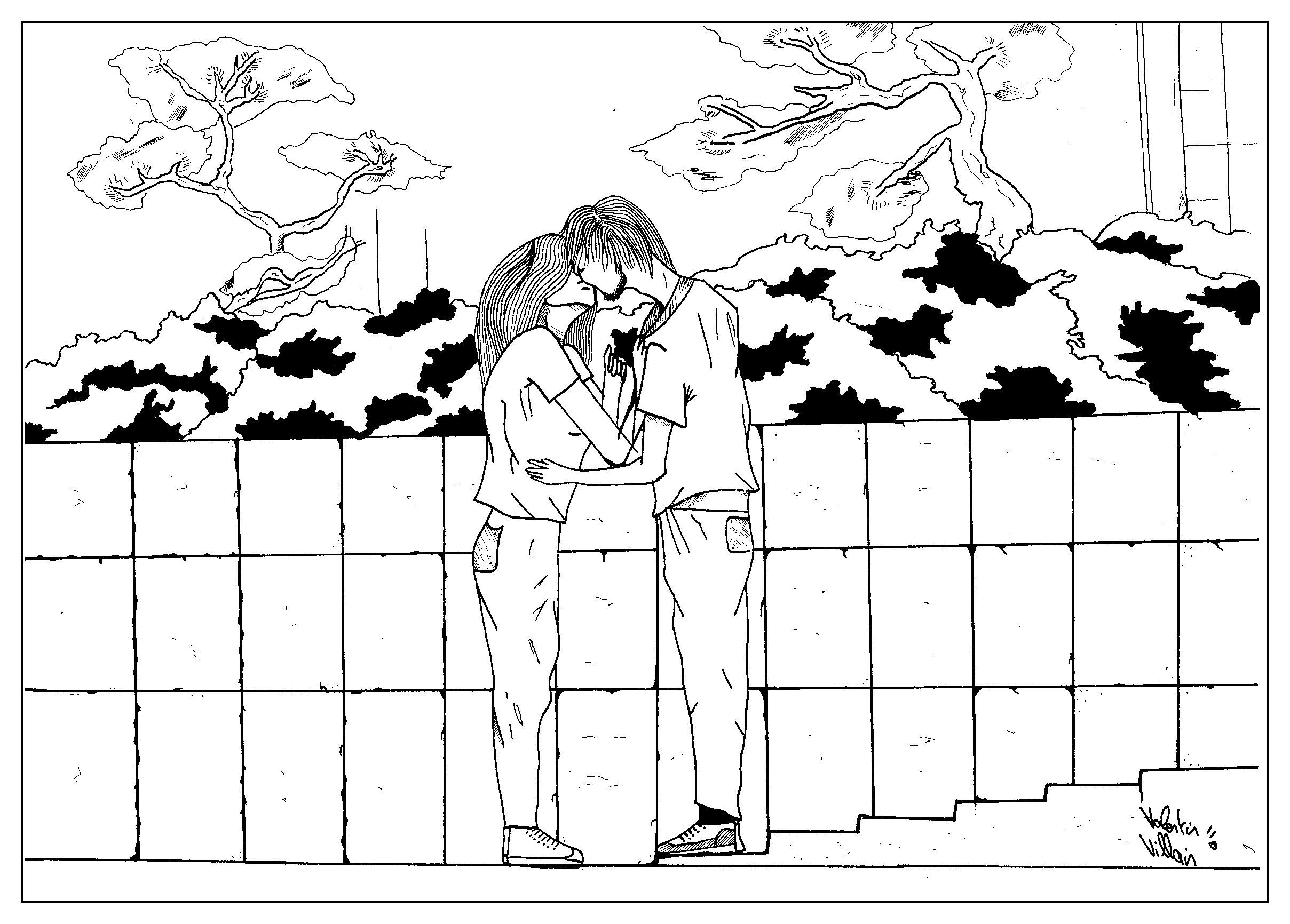 Pour la saint-valentin un coloriage, avec un style sympatique