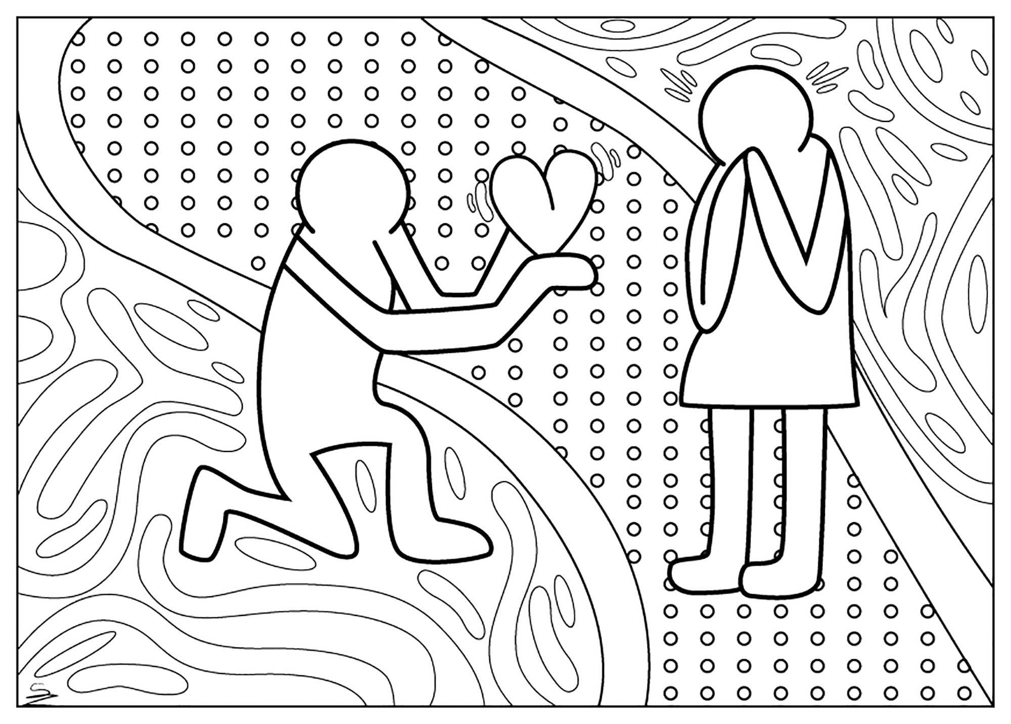 Un coloriage pour la Saint-Valentin inspiré des œuvres de Keith Haring
