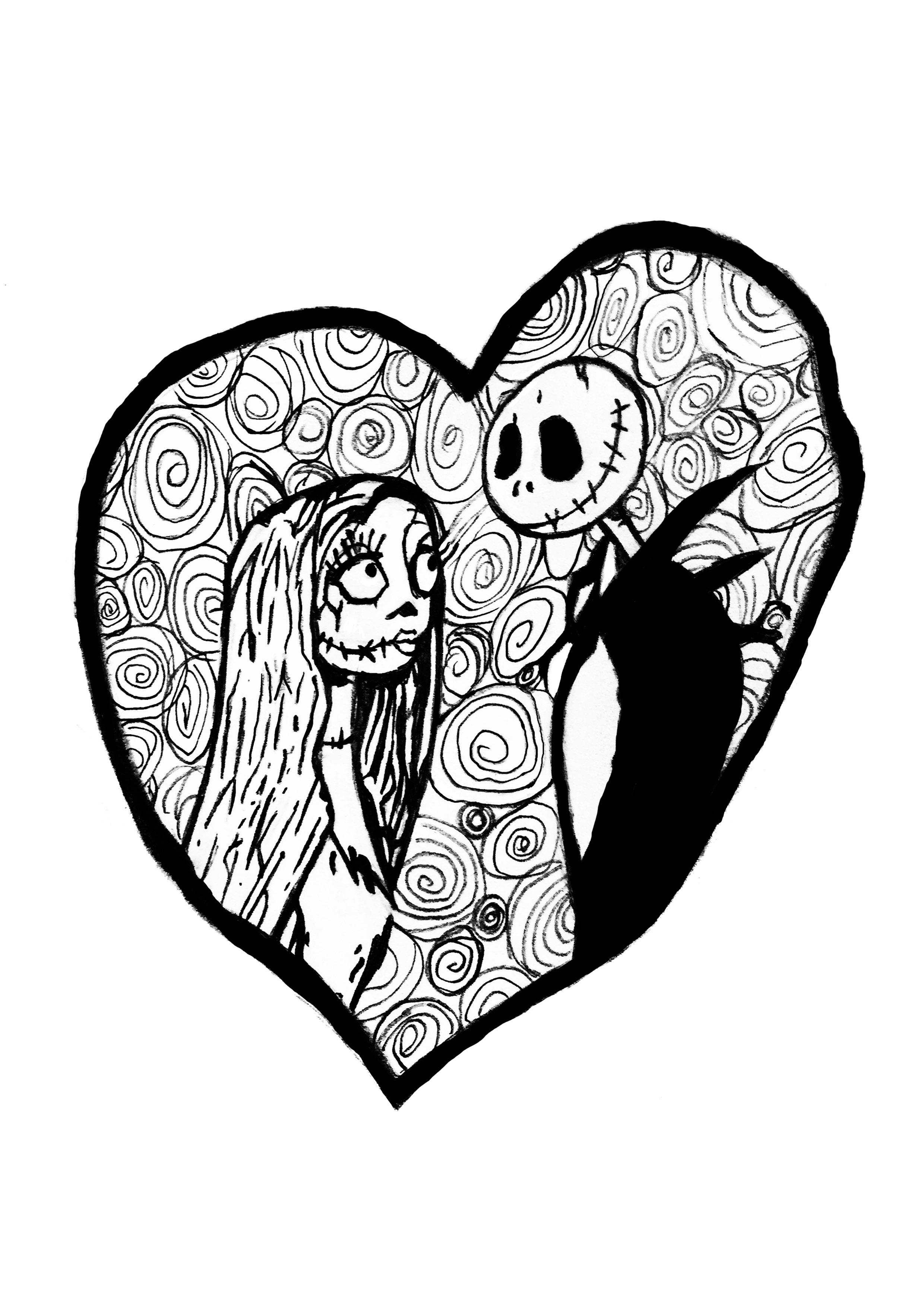 Jack et Sally du film L'Etrange Noël de Mr Jack unis dans un coloriage pour la Saint Valentin