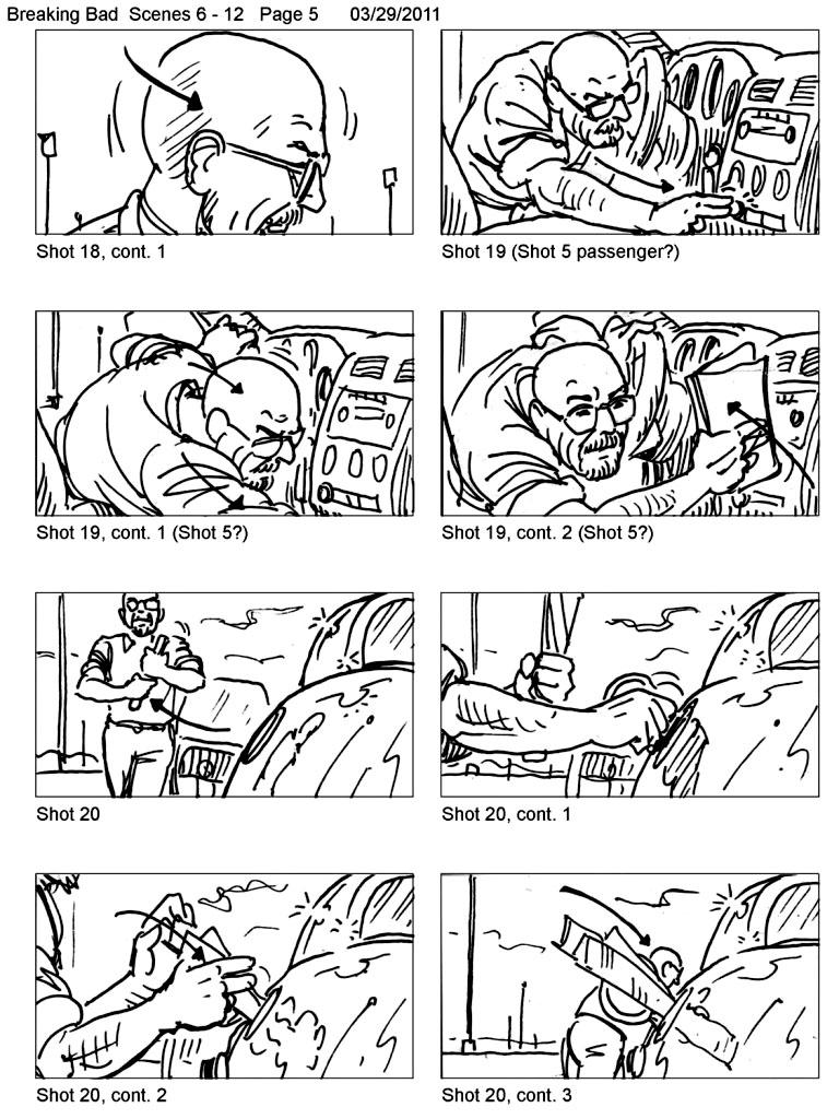 Extrait d'un Storyboard d'un épisode de la série Breaking Bad