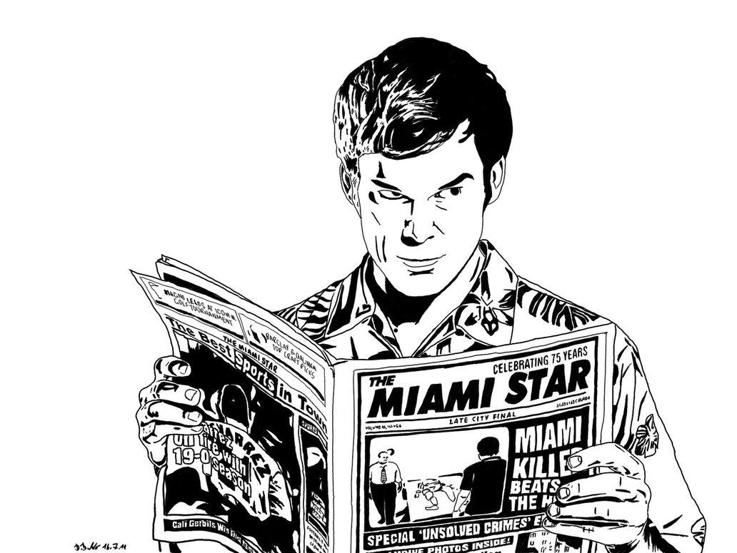Dessin à colorier de Dexter Morgan, le 'gentil' serial killer de la série Dexter