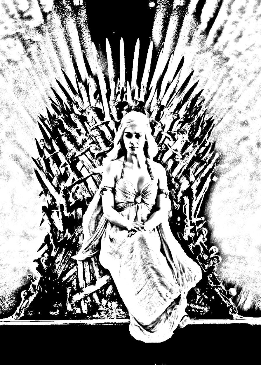 Coloriage Game of Thrones avec la charismatique Daenerys Targaryan (actrice), assise sur le trône de fer