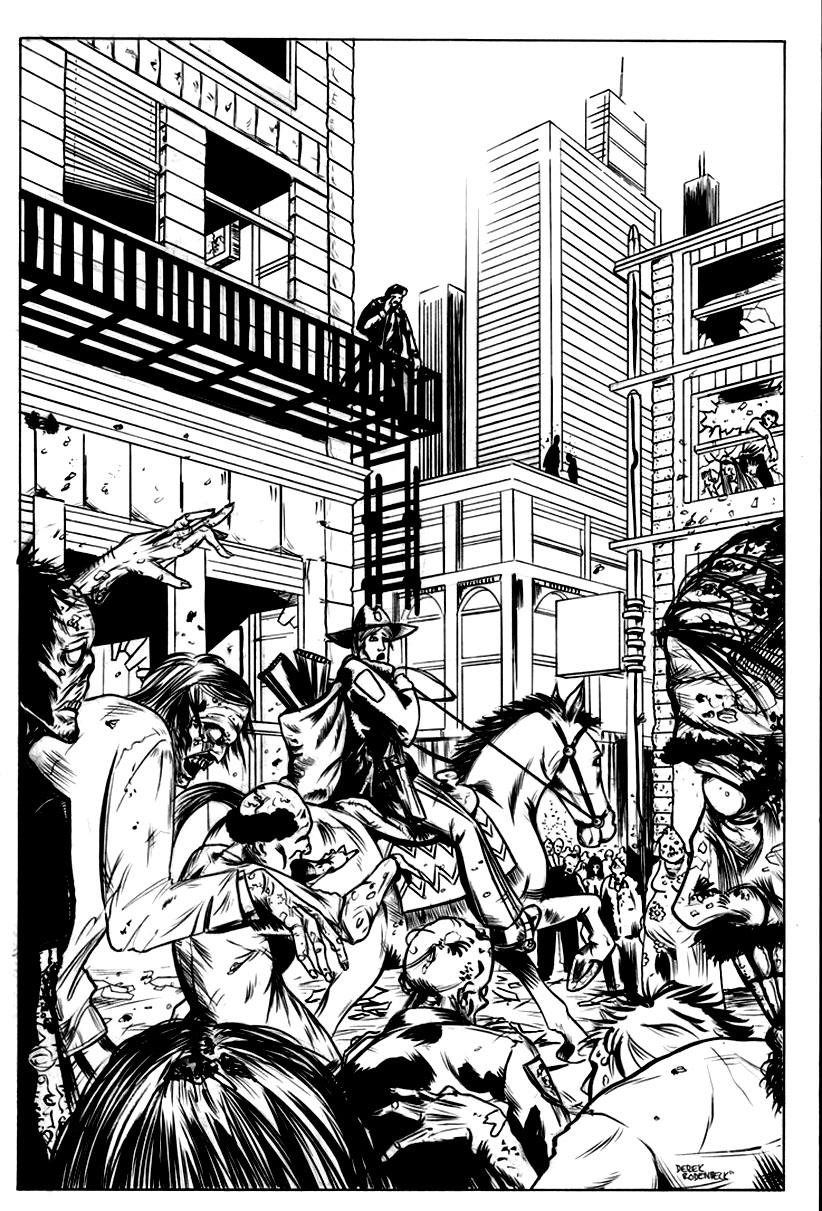 Coloriage d'un dessin de The Walking Dead (la BD) : Quand Rick arrive à cheval à Atlanta