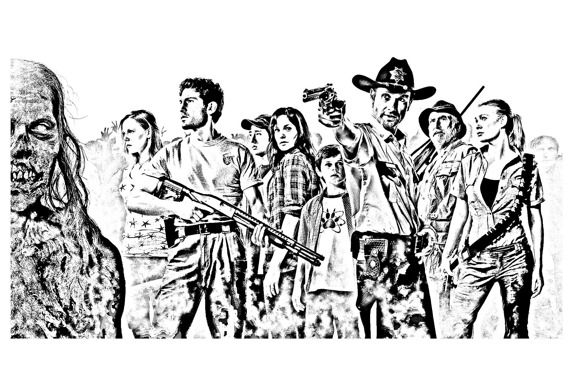 Coloriage adulte à partir d'une photo de The Walking Dead Saison 1