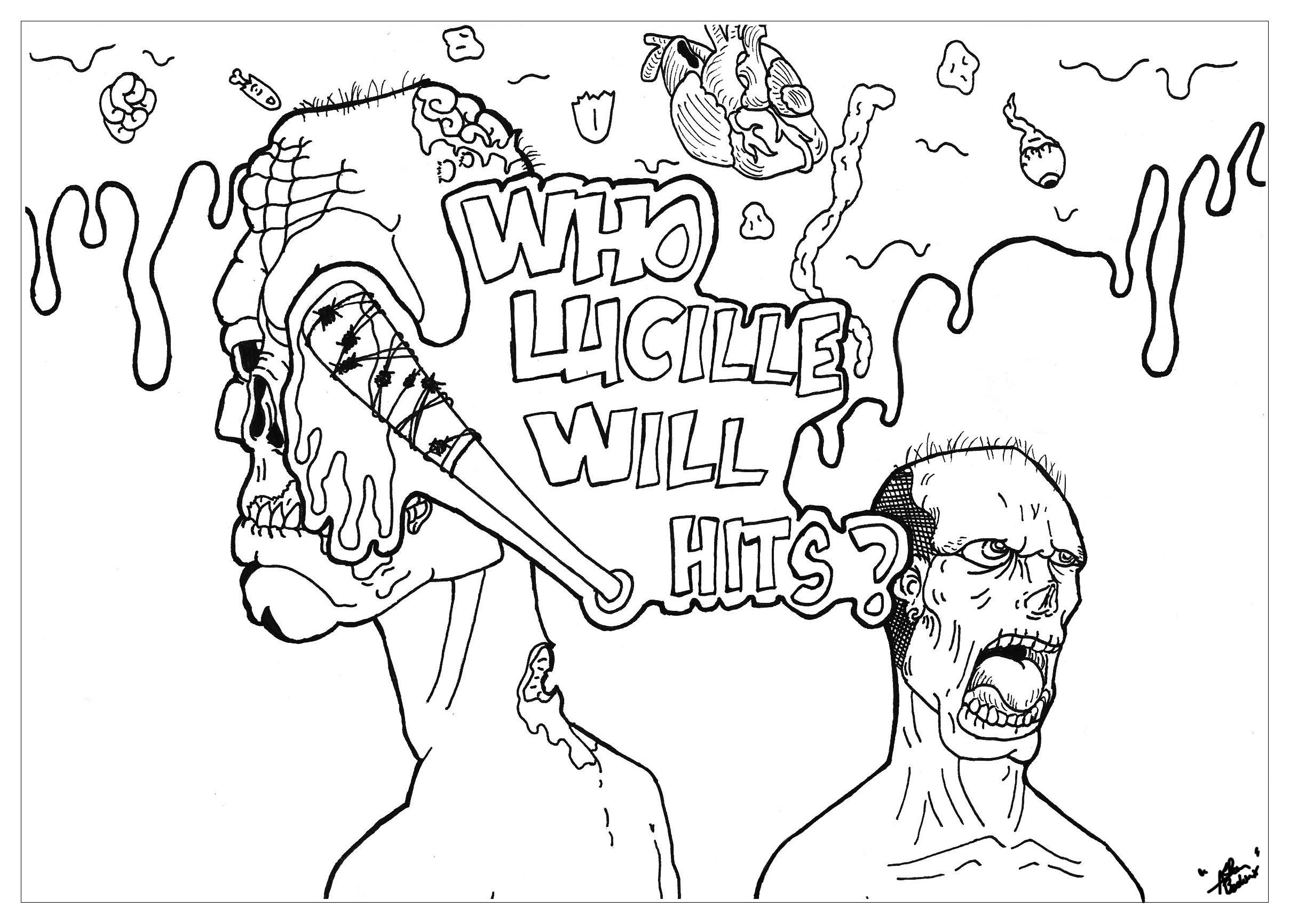 Coloriage inspiré de l'univers de The Walking Dead et notamment avec la batte du méchant Negan : Lucille