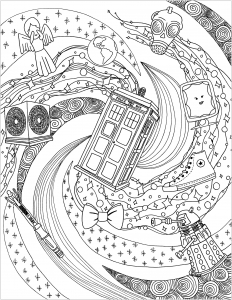 Coloriage adulte le monde du Doctor Who