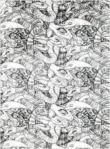 Coloriage adultes serpents enchevetres 2