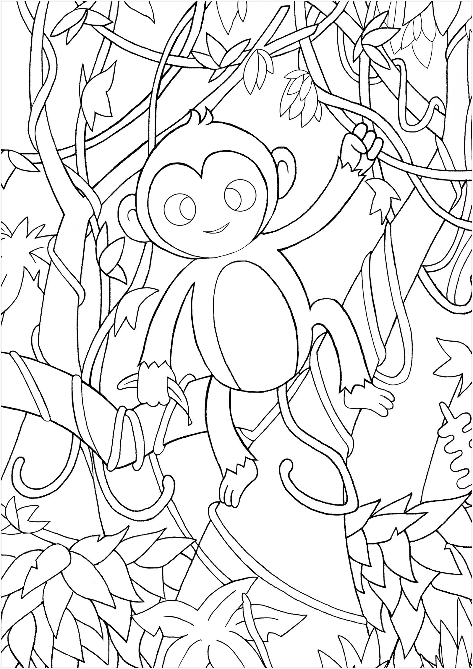Un joli petit singe au milieu des lianes, feuilles et branches de la jungle