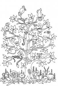 Coloriage adulte difficile arbre oiseaux serpents singes