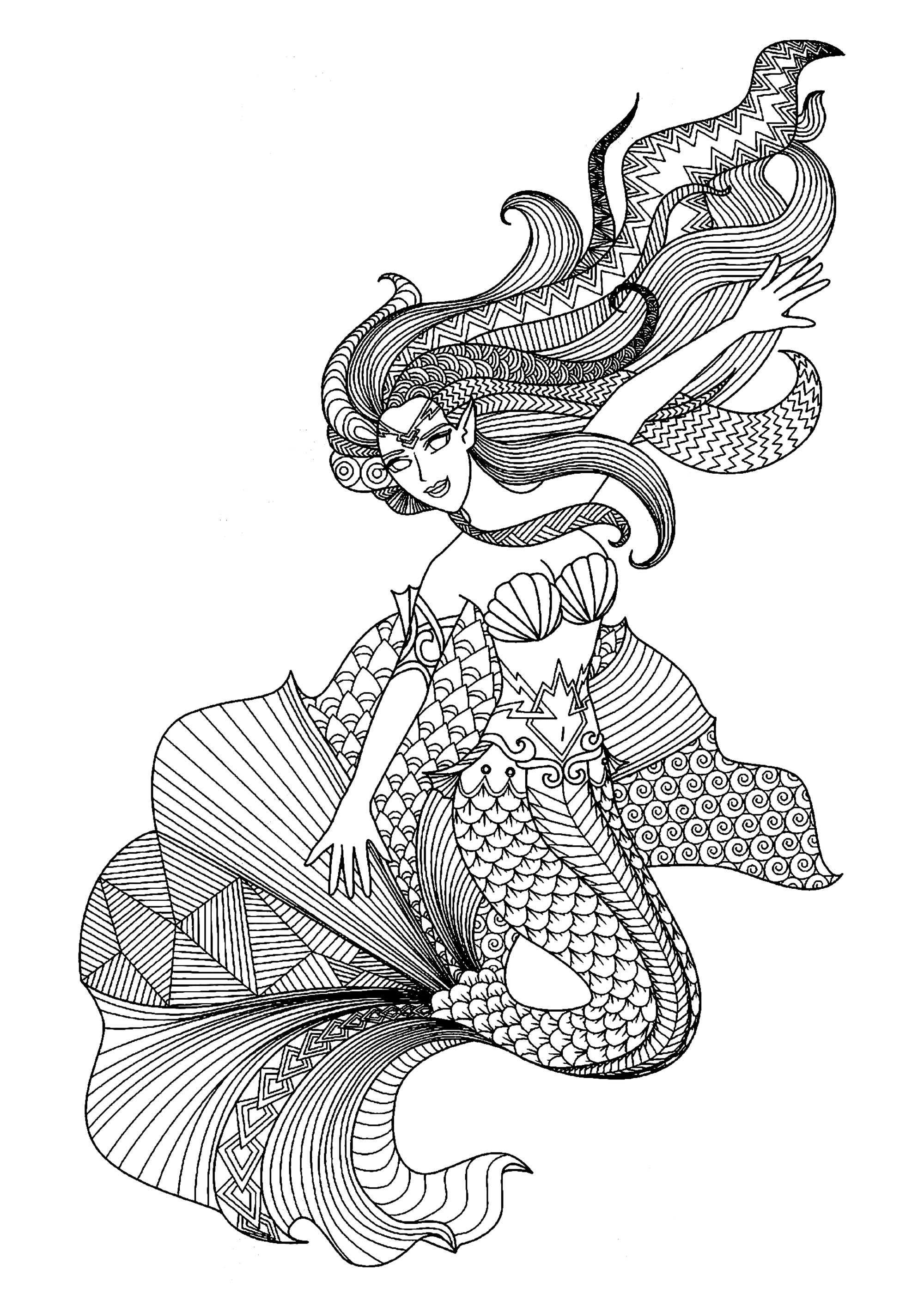 Magnifique sirène avec motifs variés et complexes