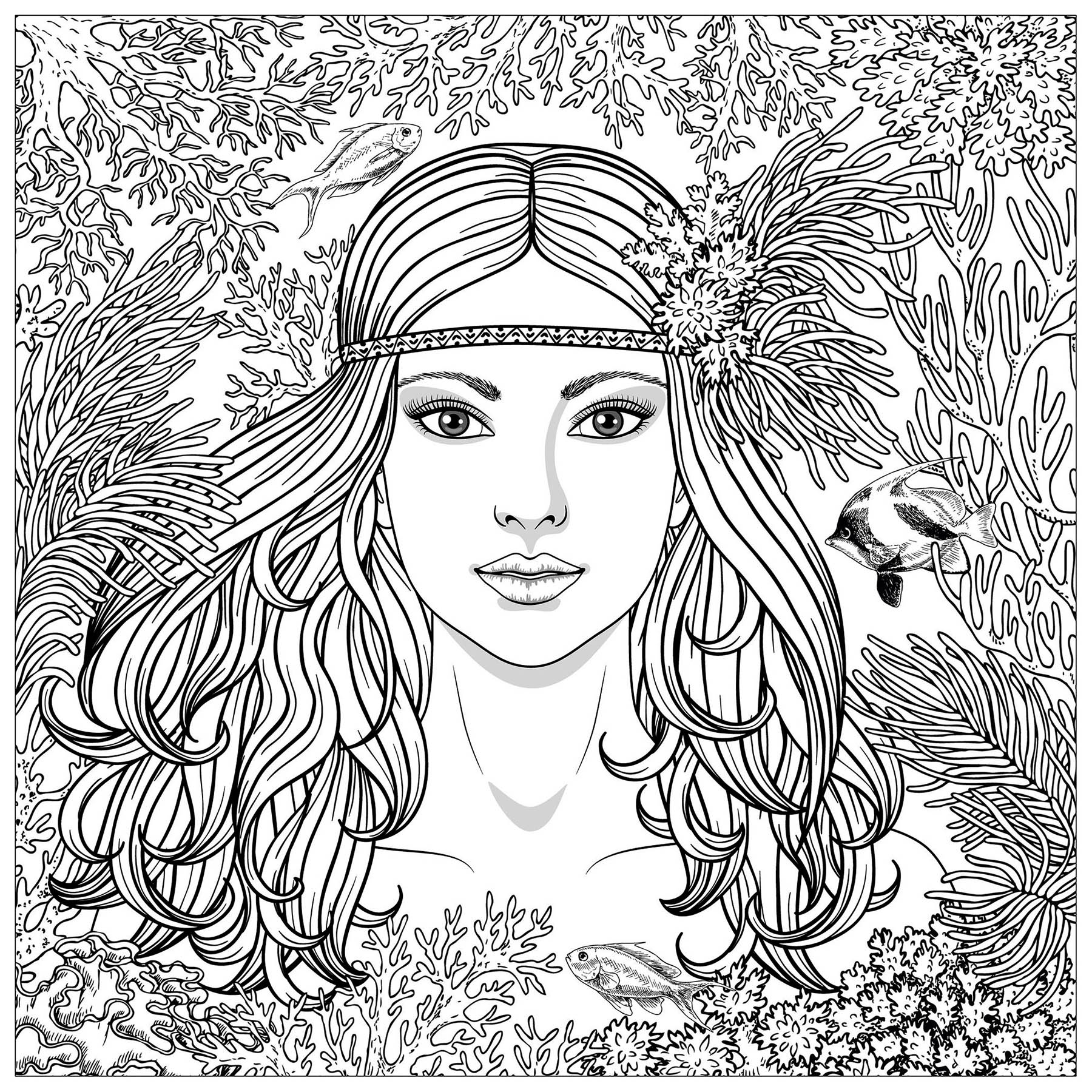 Sirene potrait sir nes coloriages difficiles pour adultes - Coloriages sirenes ...