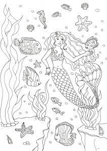 Coloriage adulte sirene et poissons