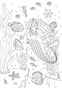 Coloriage adulte sirene et poissons