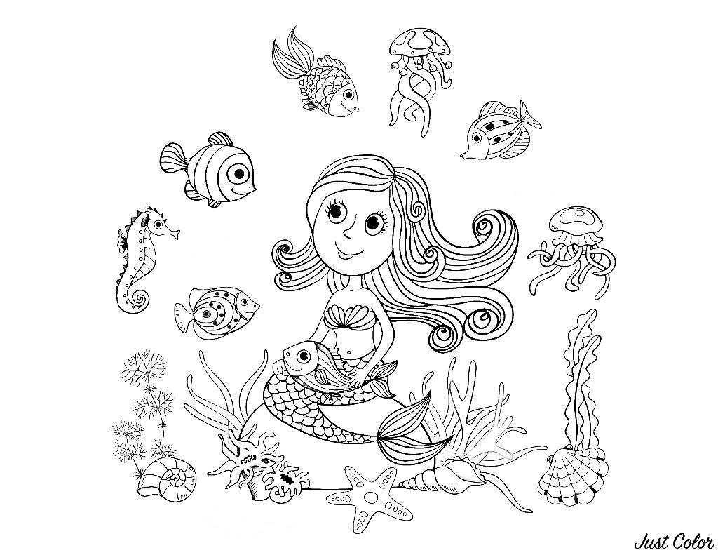 Magnifique dessin au style enfantin d'une sirène et de ses amis poissons