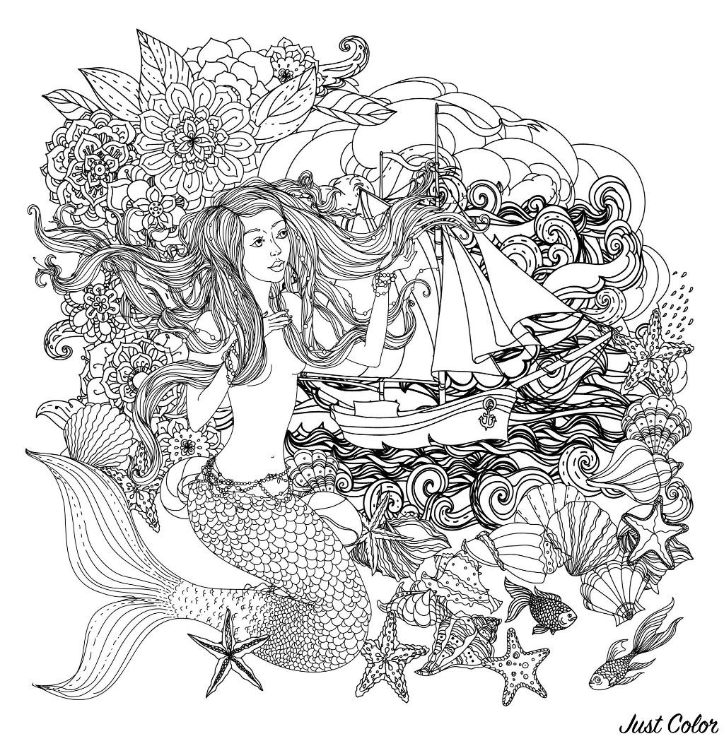 Sirène et bateau, et nombreux éléments marins à colorier