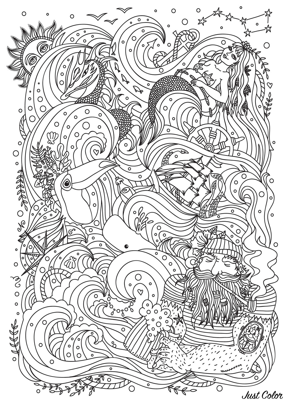 Sirène, marin, bateau et oiseau, au milieu d'une mer pleine de jolies vagues