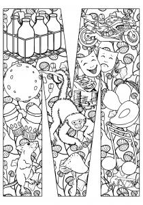 Colroiage adulte singe et souris