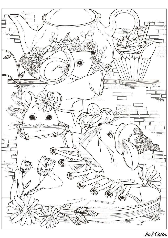 Coloriage de trois souris prenant le goûter avec l'une d'entre elle dans une chaussure