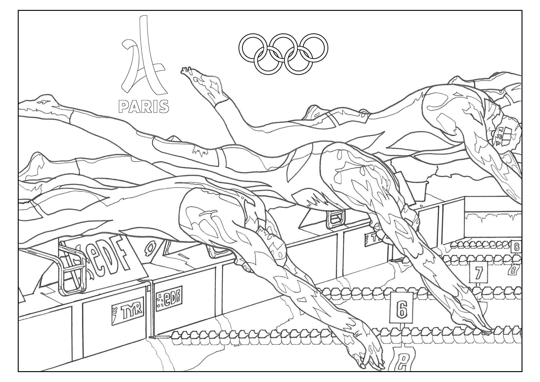 coloriage adulte jeux olympiques natation paris 2024