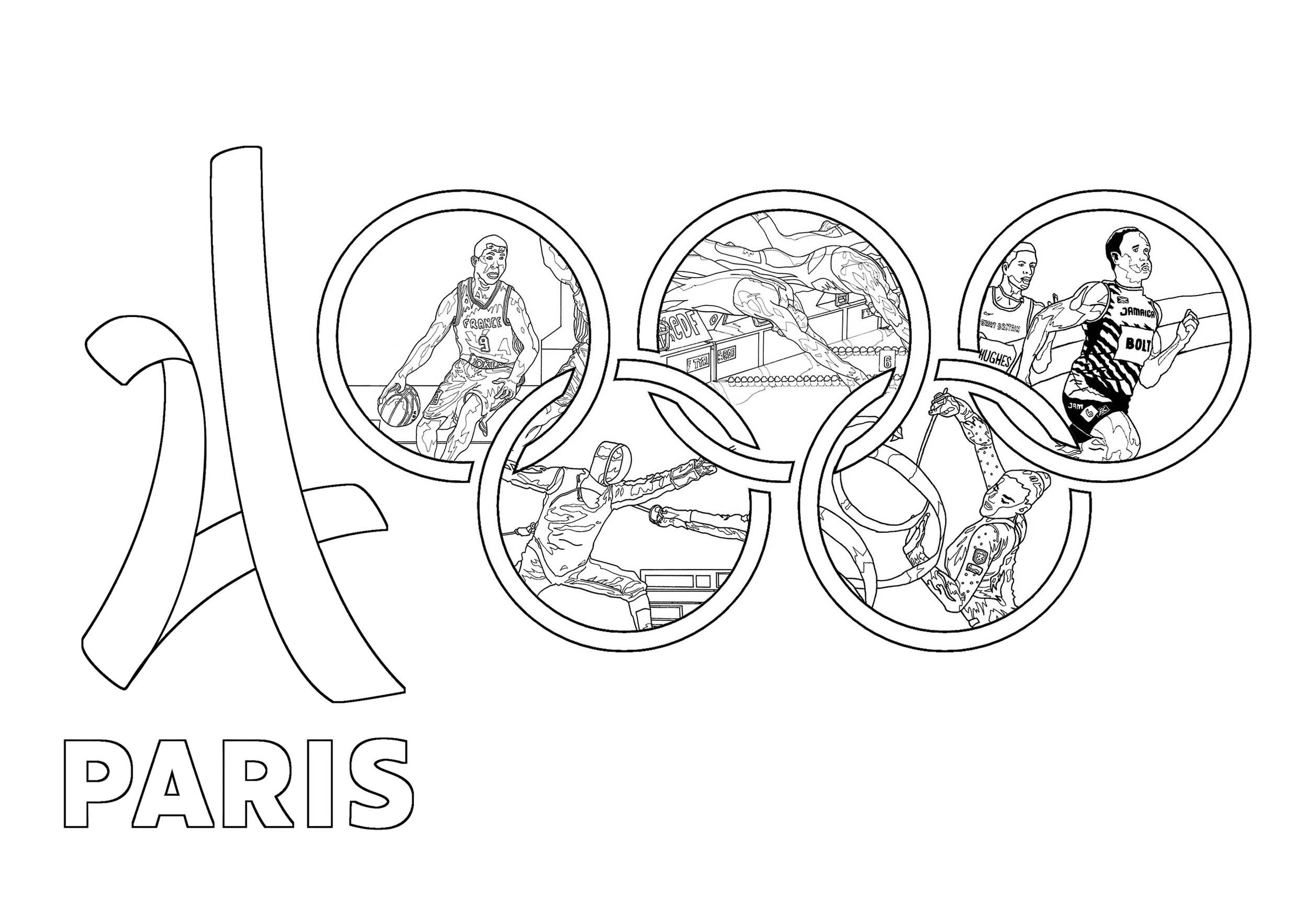 Coloriage pour les Jeux Olympiques de Paris 2024 : Différents sports, Logo et anneaux olympiques