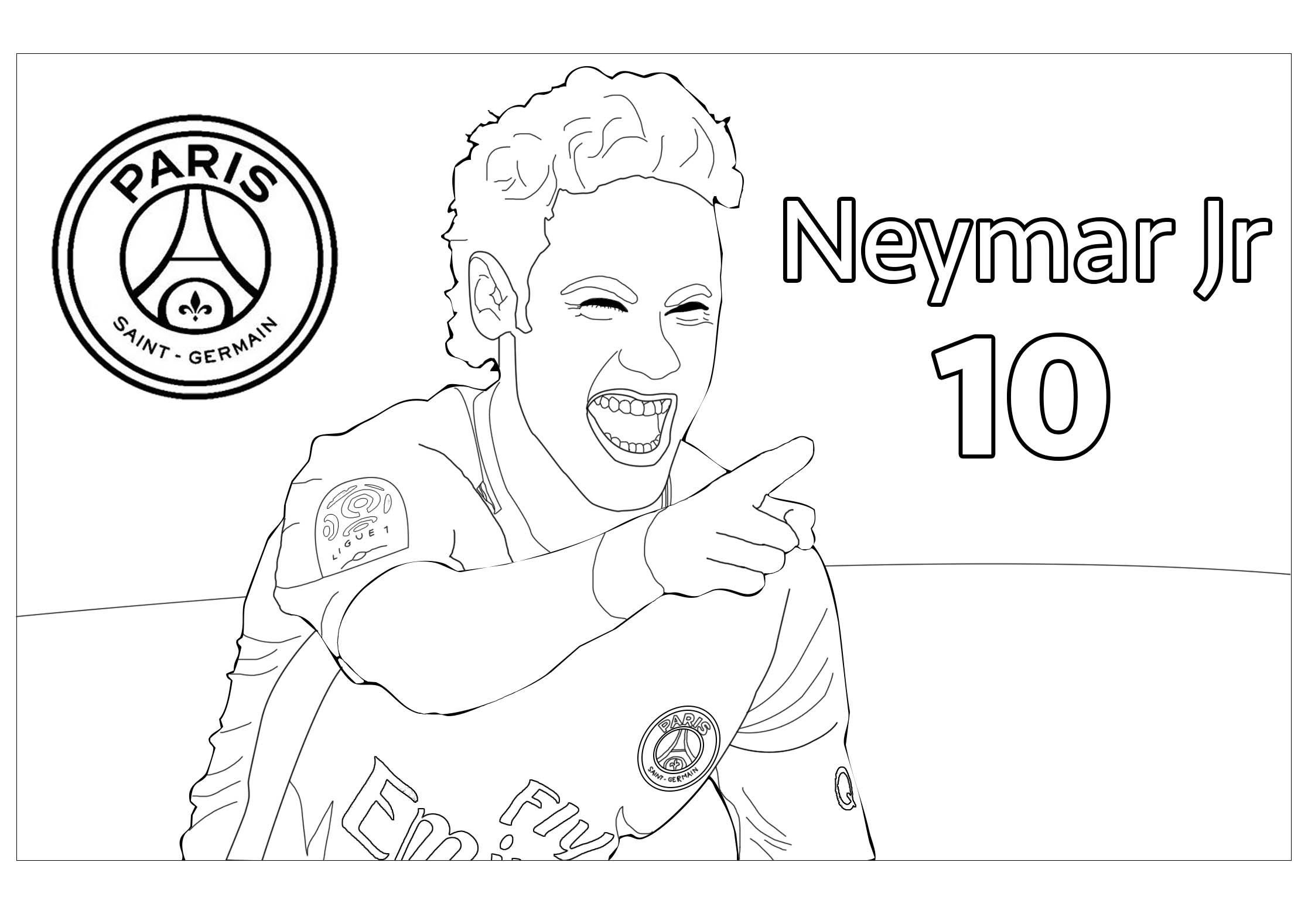 Le célèbre joueur de Football Neymar Jr - version avec Logo du PSG, son nom et son numéro de maillot