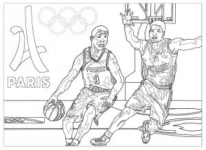 Coloriage adulte jeux olympiques basketball paris 2024