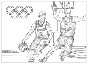 Coloriage adulte jeux olympiques basketball