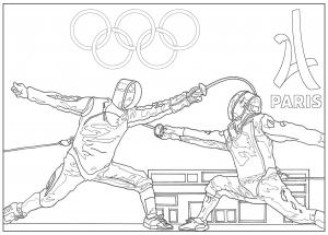 Coloriage adulte jeux olympiques escrime paris 2024