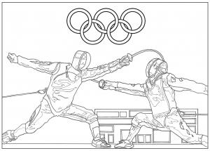 Coloriage adulte jeux olympiques escrime