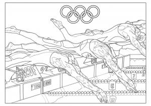 Coloriage adulte jeux olympiques natation