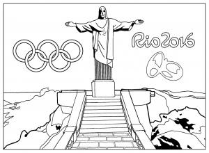 Coloriage rio 2016 jeux olympiques statue christ redempteur rio de janero