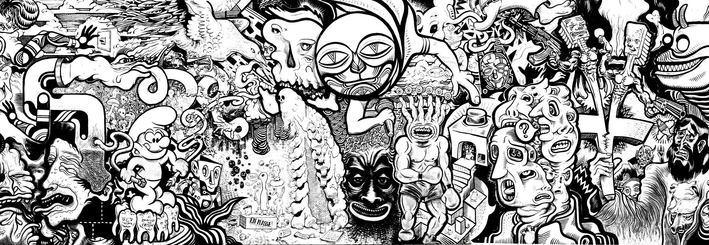 Fresque tags tags et graffitis coloriages difficiles - Coloriage graffiti ...